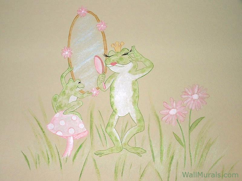 Diva Frog Wall Mural in Baby Room