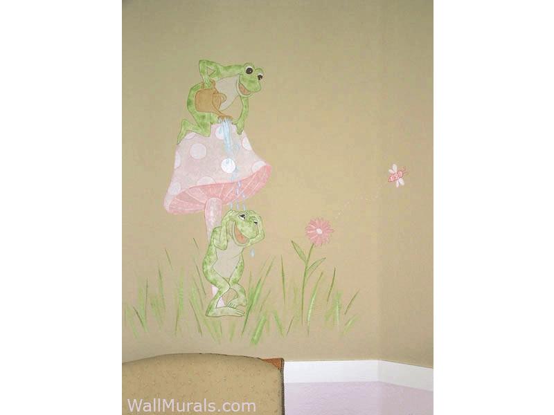 Cute Frog Mural in Baby Room
