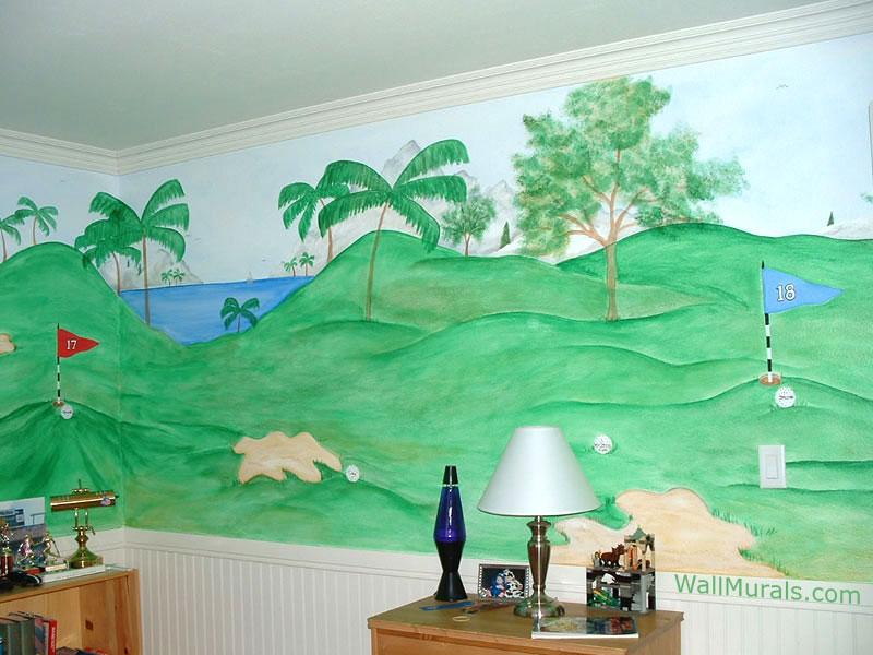 Golf Wall Mural in Boys Bedroom