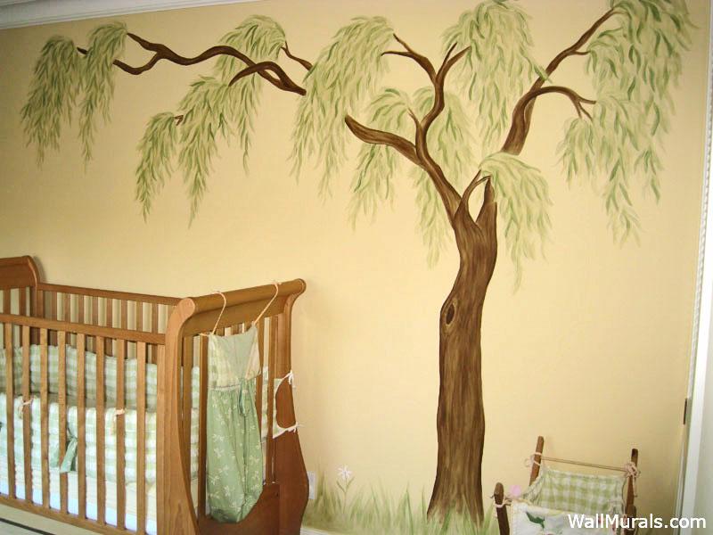 Tree Wall Mural in Baby Nursery