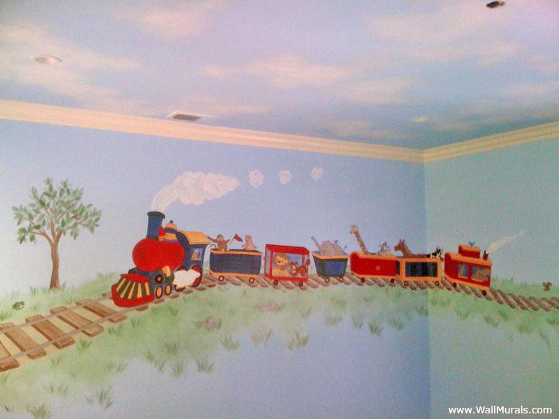 Train Wall Mural - Boys Bedroom