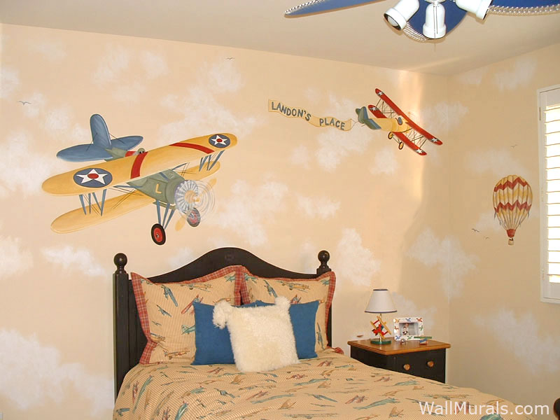 Airplane Wall Mural in Boys Bedroom