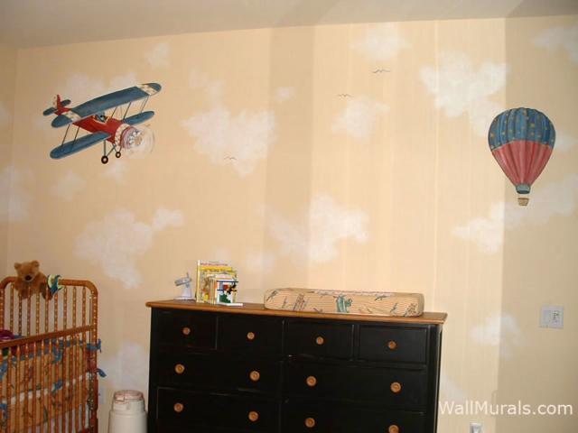 Vintage Airplane Mural Painted in Baby Room