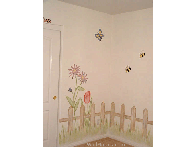 Fence and Flowers Mural in Nursery