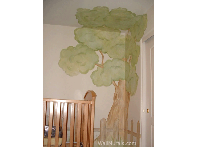 Corner Tree Wall Mural in Baby Room