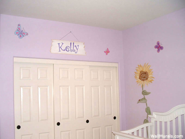 Sunflower Wall Mural in Baby Room