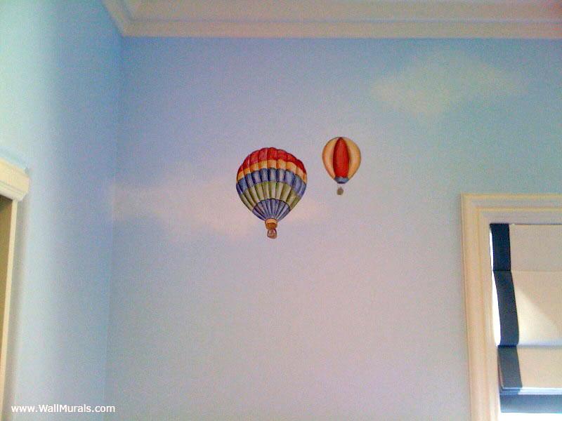 Vintage Hot Air Balloon Mural in Baby Boy Room
