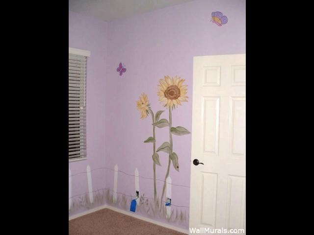Sunflower Wall Mural in Nursery