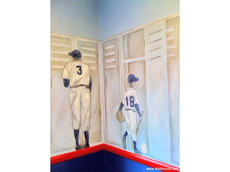 Vintage Sports Locker Mural with Babe Ruth