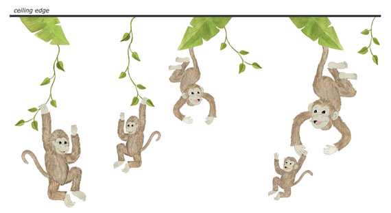Monkey Wall Decals - Layout Sheet