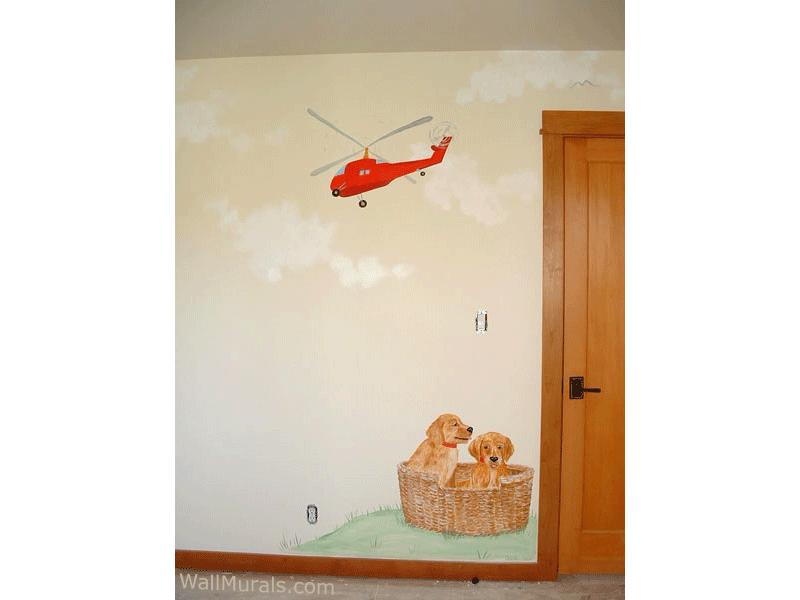 Helicopter Mural with Puppies