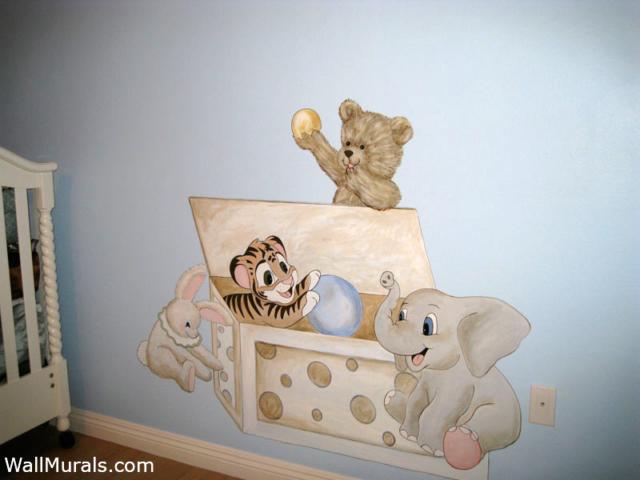 Vintage Toychest Mural Painted in Nursery