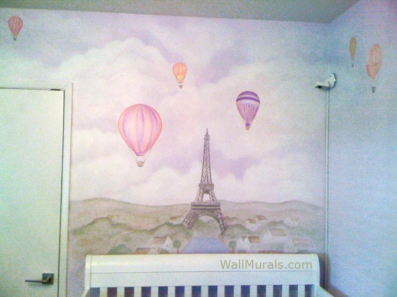 Paris Wall Mural in Baby Room