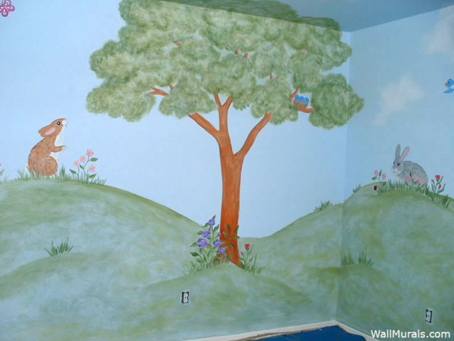 Nursery Tree Mural with Bunnies