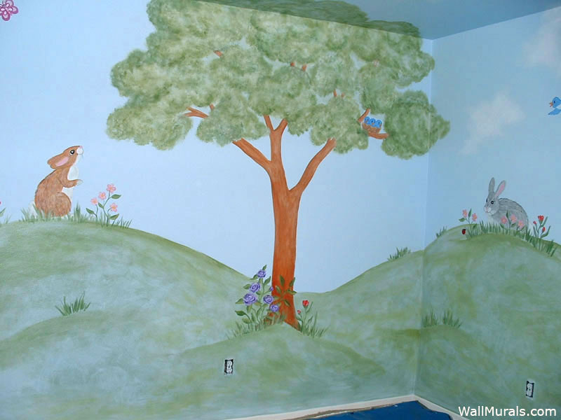 Nursery Tree Mural with Bunnies