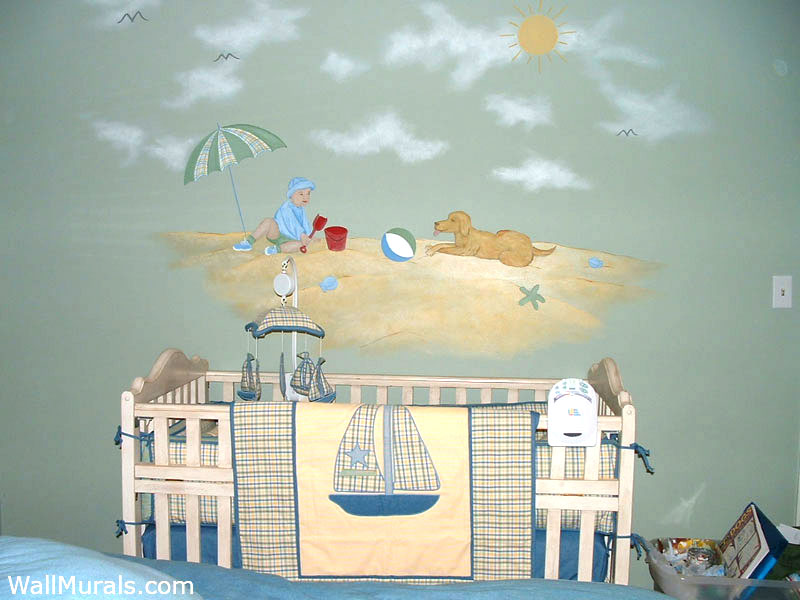 Beach Wall Mural in Nursery