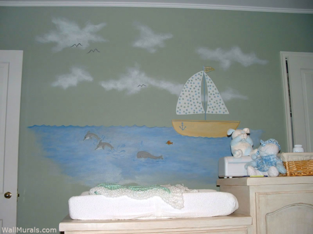 Sailboat Wall Mural in Baby Room