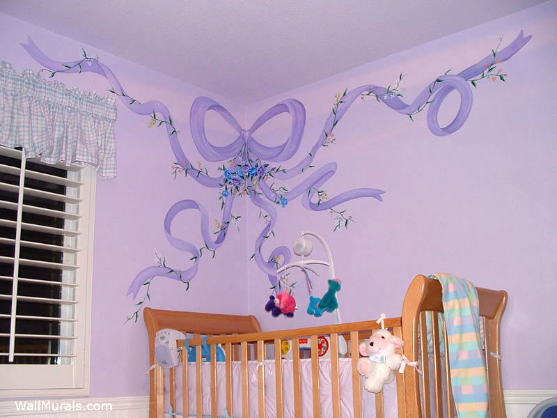 Purple Ribbon Wall Mural Nursery
