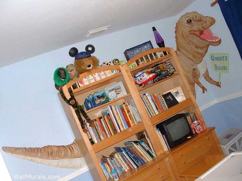 T-Rex Wall Mural in Boys Bedroom