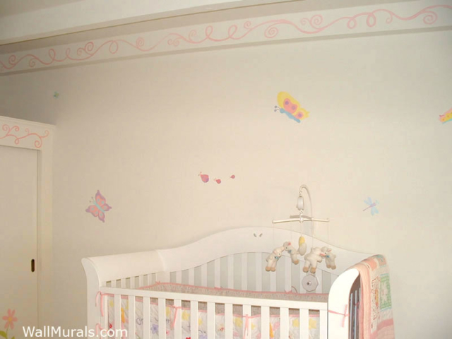 Butterfly Wall Mural in Baby Room