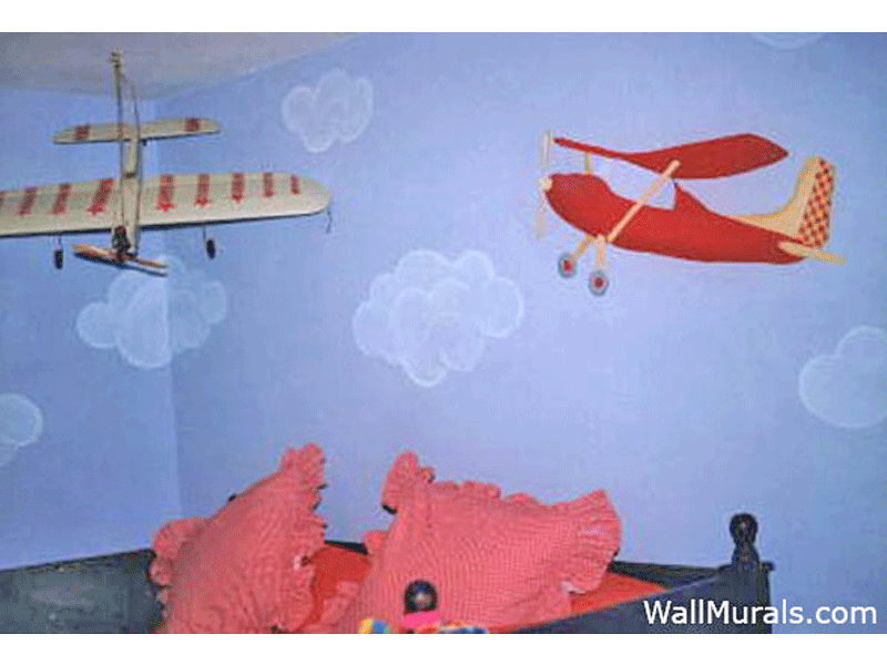 Airplane and Clouds Mural in Boys Room