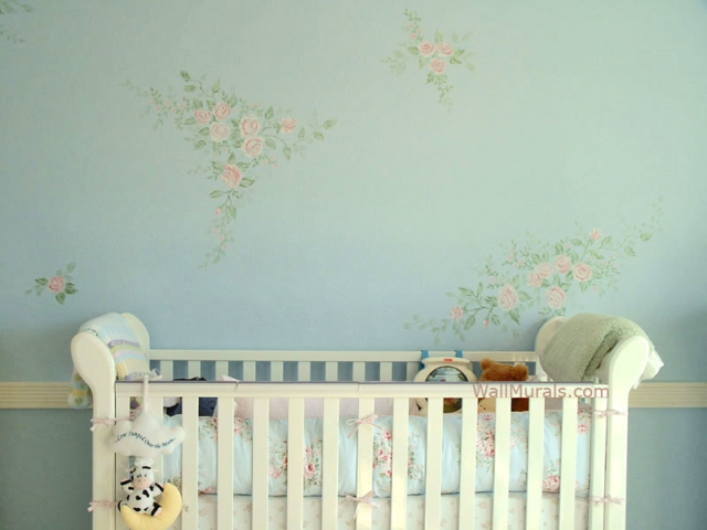 Flower Mural painted in Baby Room