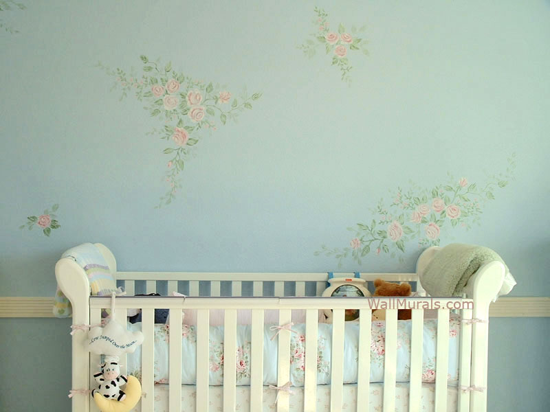 Flower Mural painted in Baby Room