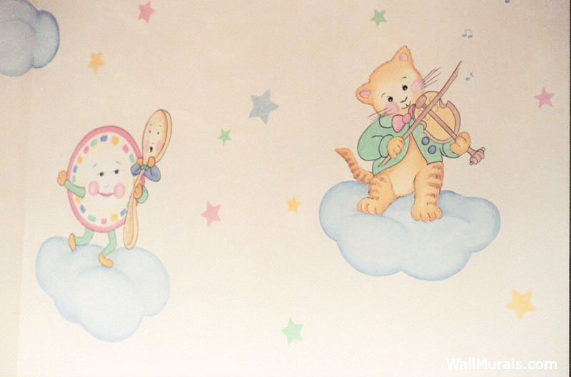 Nursery Rhyme Wall Mural in Nursery