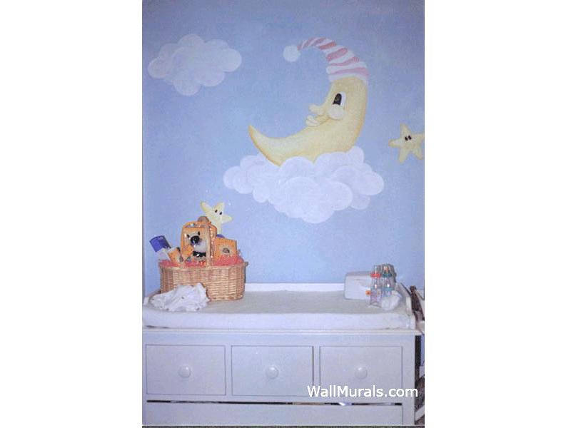 Moon & Stars Baby Room Mural