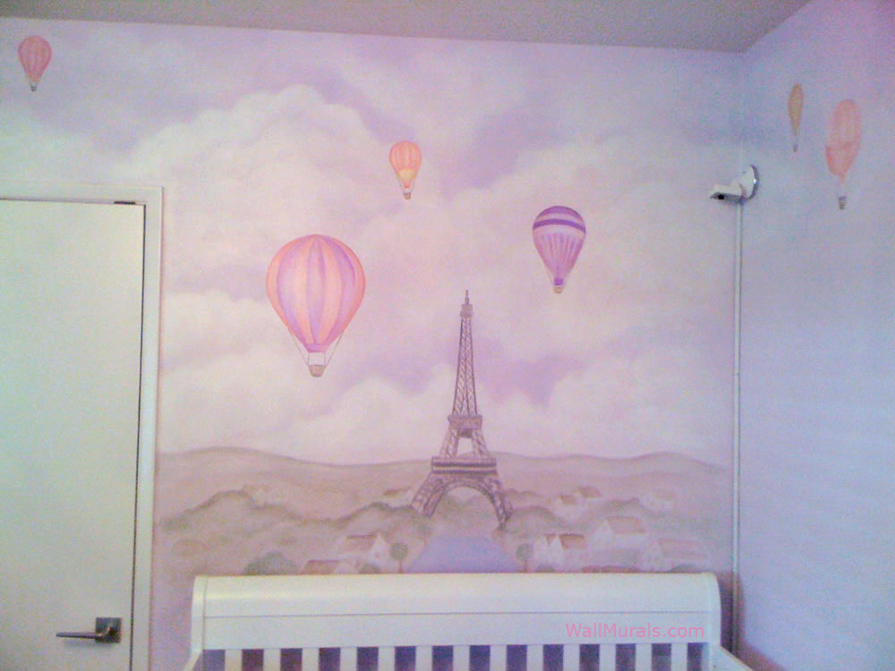 Balloons Over Paris Mural - Girls Bedroom