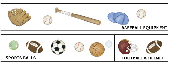 Baseball, football and sports ball - wall decals - layout sheet