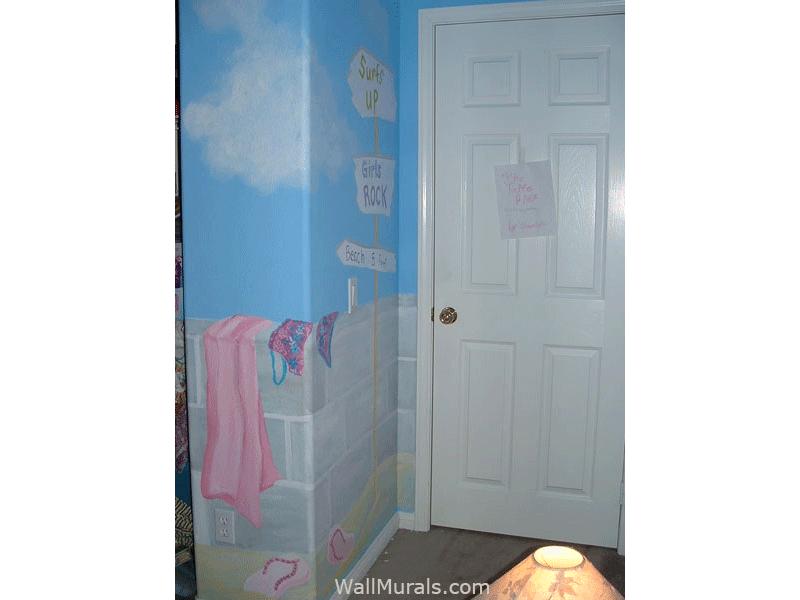 Beach Wall Mural in Girls Bedroom