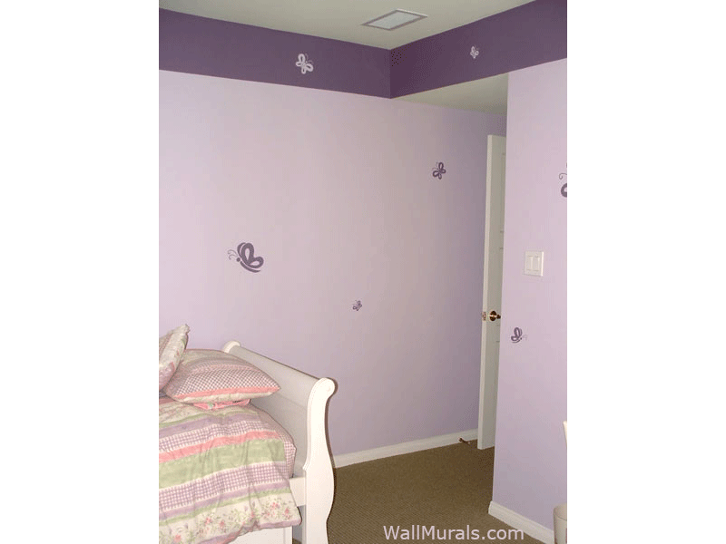 Purple Butterfly Mural in Girls Room