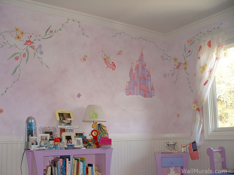Castle Mural in Girls Room with Flowers - Vines