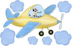 MOOving - Cow Pilot - Yellow Airplane - Decal Sheet