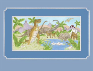 Thirsty Dinosaurs - Wallpaper Mural