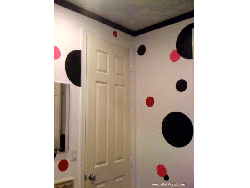 Girls Bathroom Mural - Pink and Black Dots