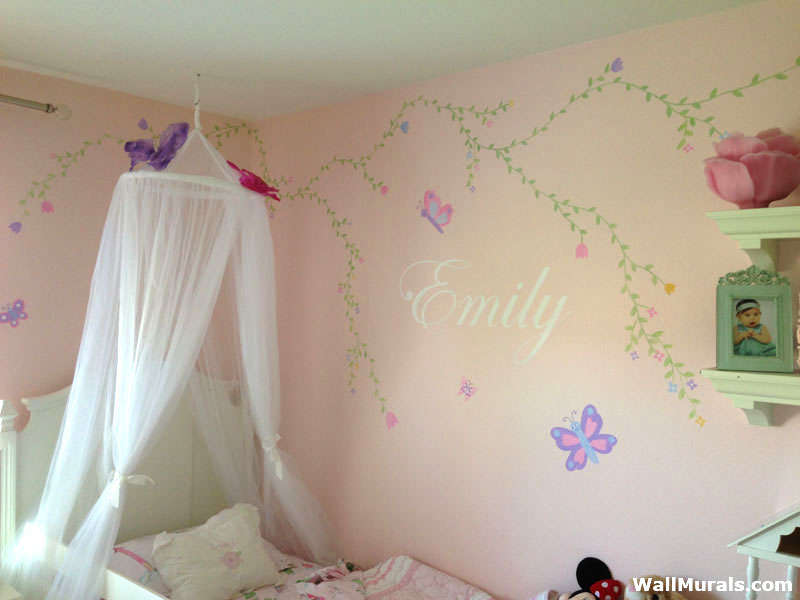 Girls Room Mural - Flowers - Vines - Name