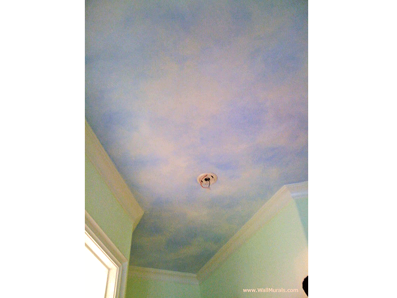 Painted Sky on Ceiling - Girls Bedroom