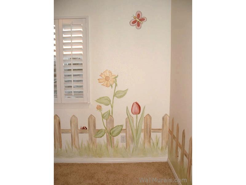 Fence - Flowers Mural for Little Girl
