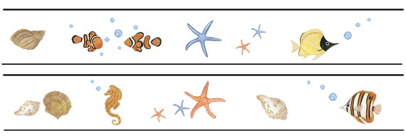 Fish, Shells & Starfish Border - Layout Sheet