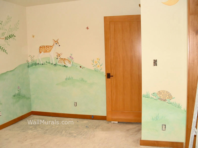 Nature wall murals and animal wall mural examples for Deer wall mural