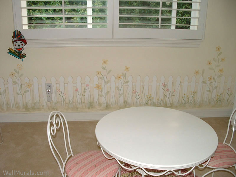 Picket Fence Wall Mural - Girls Room