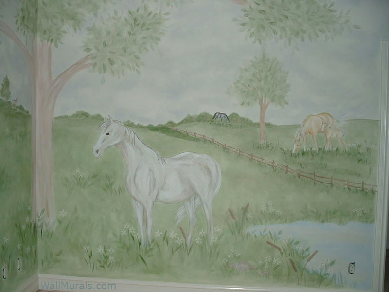 Horse Wall Mural in Girls Bedroom