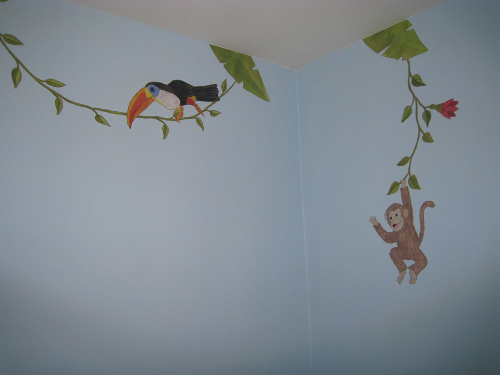 jungle leaves  vines and flower wall decals