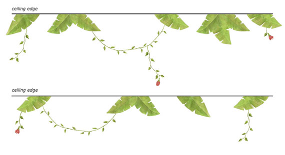 Jungle Leaves, Vines & Flower Wall Decals - Layout Sheet