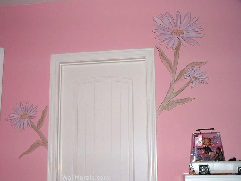 Large Flower Mural in Girls Room