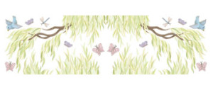 PACKAGE - (2 LARGE Willow Tree Border Decals - Branches Pointing RIGHT and Branches Pointing LEFT)