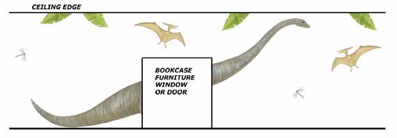 Long Neck Dinosaur Wall Decals - Layout Sheet