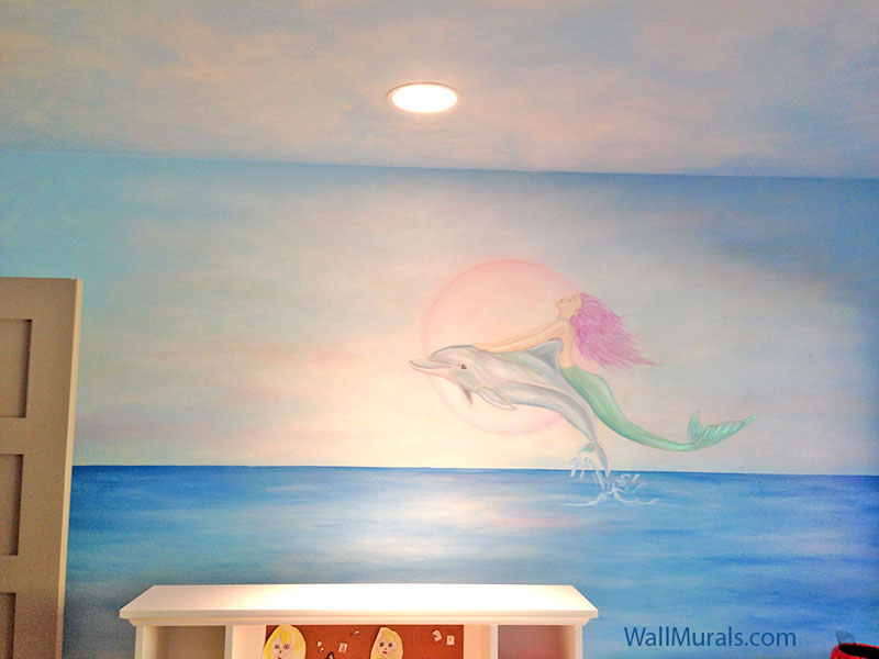 Mermaid Riding Dolphin Mural - Girls Bedroom